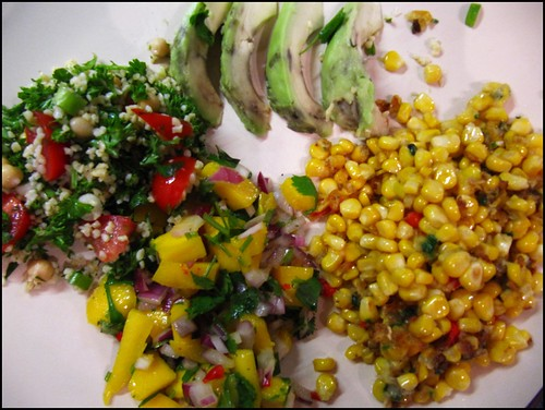 sweetcorn fritters (failed to stick together but still tasty), mango salsa, tabbouleh and avocado