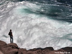 Wave Watching (Karen_Chappell) Tags: ocean sea seascape rock newfoundland person coast surf waves rocky wave tourist atlantic shore nfld eastcoast capespear