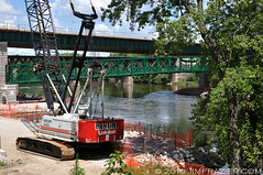 Herlihy / Link-Belt at Stearns Road Bridge (Jim Frazier) Tags: red summer lines metal museum landscape illinois construction nikon scenery iron technology mechanical crane trolley steel rear scenic structures bridges july engineering sunny bluesky fair heavymetal il clear equipment machinery infrastructure machines southelgin kanecounty kane rearview noisy apparatus crossings spans 2010 devices civilengineering leadinglines constructionequipment d90 q2 linkbelt herlihy toproject capturenx nikoncapturenx toorg tosets ldaugust ld2010 jimfraziercom 20100710trolleymuseum
