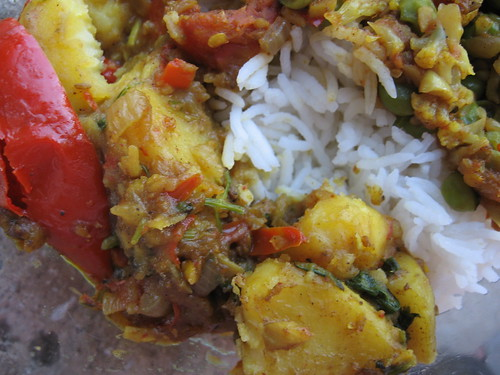 curried potatoes with rice