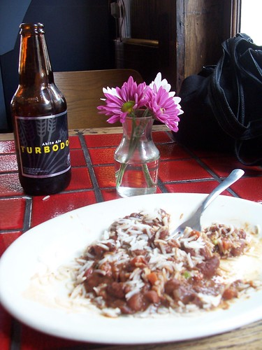 local beer + red beans with rice = yumms!