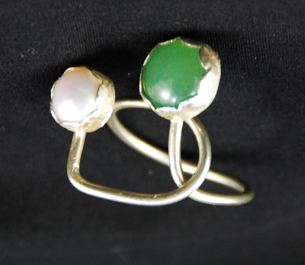 Jade and pearl adjustable sterling silver ring rotated