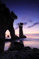Dawn (chibitomu) Tags: blue sea sky moon nature water rock sunrise canon landscape dawn daybreak   chibitomu