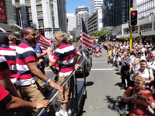 On board the USA float at the Wellington Sevens street parade.