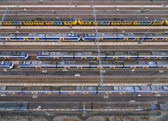 Trains (KAPturer) Tags: railroad kite holland netherlands dutch utrecht tracks nederland railway trains aerial fromabove kap birdseyeview kiteaerialphotography luchtfoto vanboven vlieger fled sidings cartesiusweg freedomtrain vliegerfoto locomotiefstraat kapturer vrijheidstrein