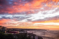 Golden Skies (Rose Slr) Tags: twilight dawn view travel australia coogee sydney winter clouds contrast houses landscape shore water sea sunrise