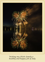 Bay City Fireworks - 2017 (TAC.Photography) Tags: 4thjuly celebration saginawriver reflection water waterrflection firework fireworks holiday baycitymichigan color framed orange green tomclarkphotographycom tomclark tacphotography