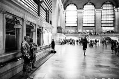 Soldiers (JCTopping) Tags: 6d 24mm stateactiveduty soldiers train nationalguard grandcentralterminal army canon blackandwhite station newyork unitedstates us