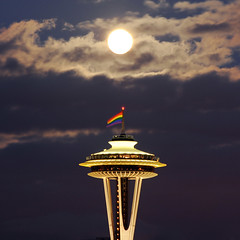 Seattle Pride 2010 (David M Hogan) Tags: seattle moon night washington nikon flag pride full moonrise spaceneedle kerrypark d5000