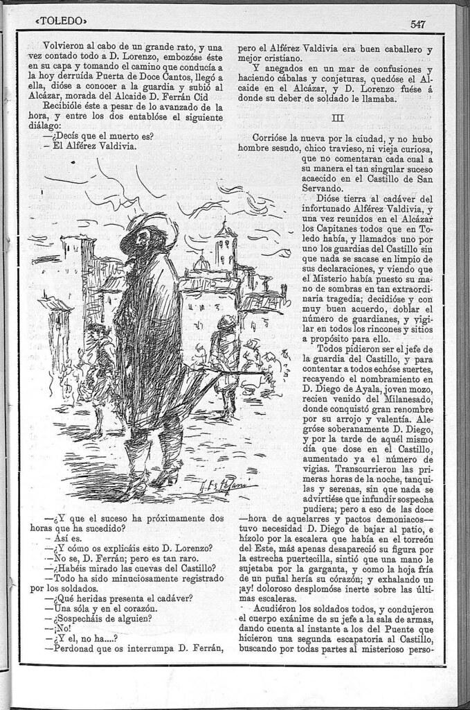 Artículo sobre el fantasma del Castillo de San Servando. Revista Toledo, enero de 1923. Página 2