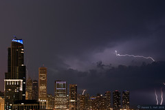 Lightning Strikes (Harold Hall) Tags: chicago tower rain clouds sears lightning storms willis