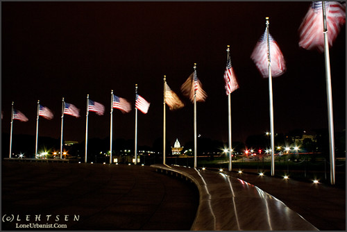 Circle of Flags at Night