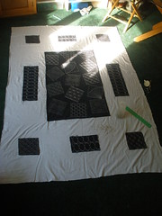 WIP - Pinning the Quilt (Pictures by Ann) Tags: blue white japanese pattern quilt natural geometry embroidery workinprogress navy indigo wip pins cotton repetition math quilting stitches quilted stitching simple applique embroidered detailed pinning pinned repetitive sashiko geometic straightstitch