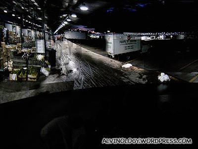 Panaromic scene of a fish market in Canada