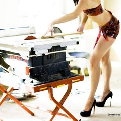 299 | 365 danger (sweethardt) Tags: red portrait woman female danger self table saw high construction photographer power sony tape workshop heels 365 tool bosch stilettos christianlouboutin a700 365days jenniferhardt