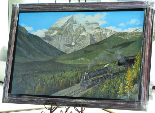 Painting by Max Jacquiard to Mark Grand Opening of CN Roundhouse at West Coast Railway Heritage Park. Royal Hudson 2860 Steams Into CN Roundhouse in Squamish BC