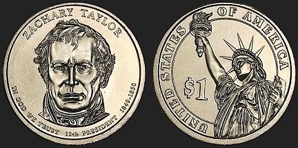 Prezidentský 1 dolár USA 2010 P, 12. prezident ZacharyTaylor