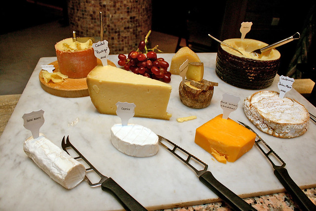 The cheese board is a scaled down version of the one for brunch, but still offers interesting bites