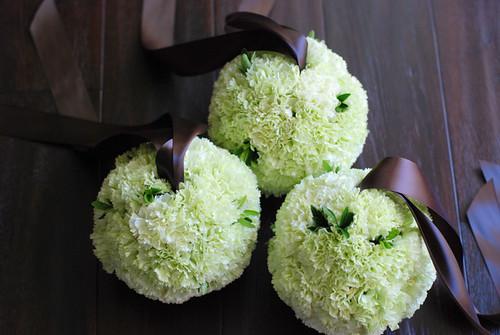green carnation pomanders