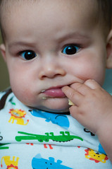 Zayden eats a cracker