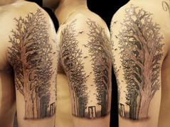 """Destiny"" tattoo (Miguel Angel tattoo) Tags: door trees black birds miguel tattoo angel forest woodland ouch grey grove tattoos doorway fate destiny half sleeve ravens maik wwwouchtattoocouk"