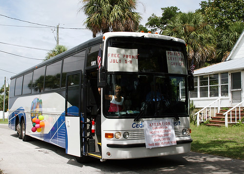 The Cedar Key Transit Rides the Clamerica Parade