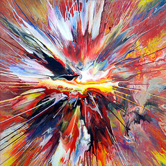 Liquid Explosion Painting! (markchadwickart) Tags: red white black color colour art yellow painting square colorful paint artist mark vibrant centre spin explosion damien vivid center fluid colourful liquid explosive chadwick hirst