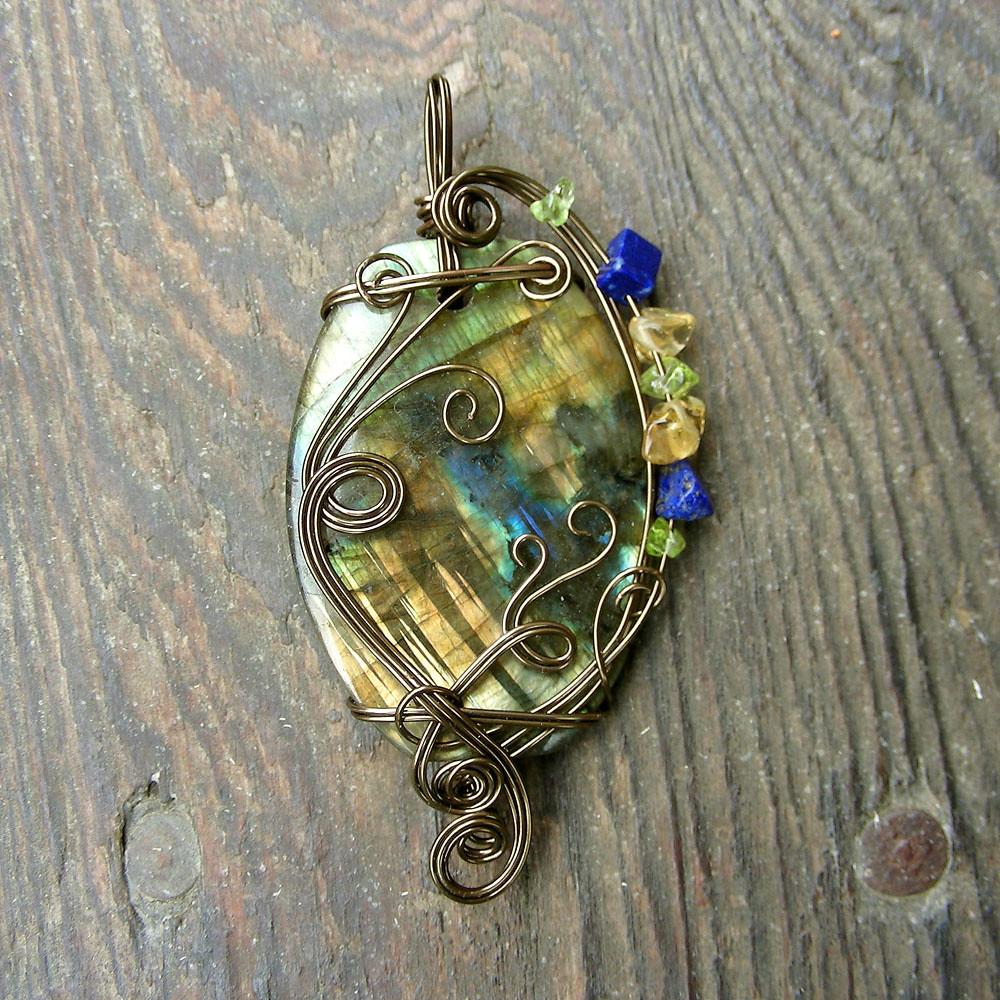 LUMINOSITY ~ Brilliant Multi-color Labradorite Gemstone Antique Bronze Wire Wrapped Pendant.