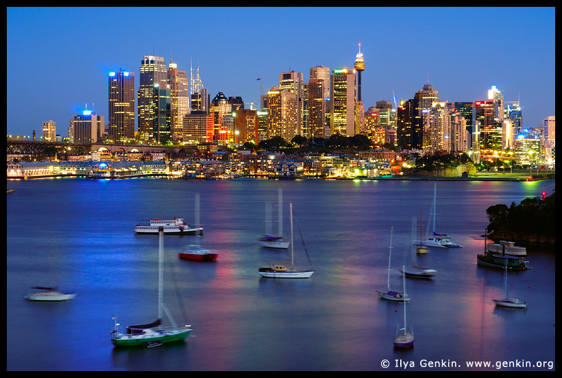 Sydney City after Sunset. A View from Waverton, Sydney, NSW, Australia. Photo © Ilya Genkin