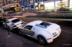Bugatti Veyron + Porsche Panamera Fab Design [Explored] (David J. Anderson) Tags: camera fab david slr london night canon lens eos design is harrods anderson porsche 17 usm dslr bugatti 85 veyron panamera 40d