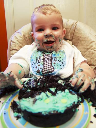 Boy Smash Cake!  Grar!