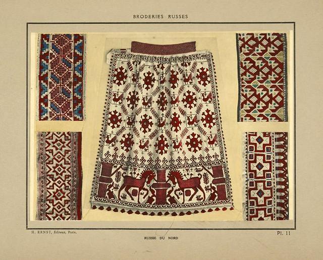 003- Guarniciones de delantal y corpiños-Rusia del norte-Broderies russes tartares armeniennes 1925