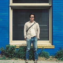 Ryan Schude (laurenlemon) Tags: sanfrancisco ca blue portrait brick 6x6 film rolleiflex mediumformat ryan 120film expired kodakportra160vc 2010 ryanschude laurenrandolph laurenlemon wwwphotolaurencom