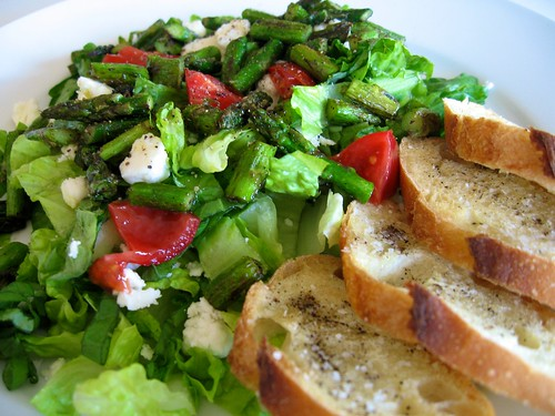 Asparagus & Goat Feta Summer Salad with Bruschetta