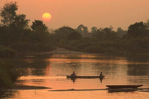 Sunset in Dondet, Laos