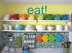 "new ""eat"" sign (supershoppertoo) Tags: ikea kitchen glass yellow modern tile bright retro pitcher fiestaware neweatsign"