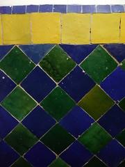 349 (AngelasTravels) Tags: blue green yellow garden ceramic colours vivid morocco tiles moorish marrakech andalusian marjorelle zellij
