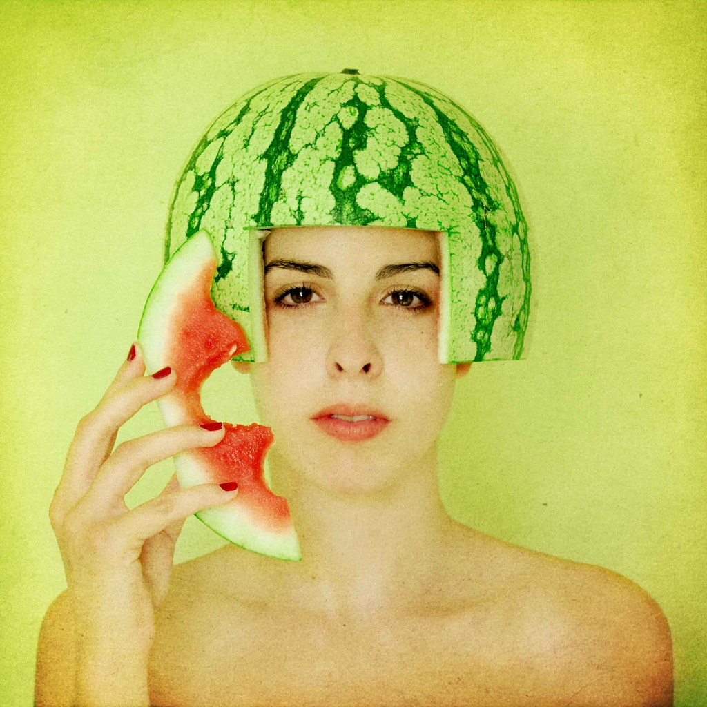 Fresh WaterMelon Picnic, busy to respond. Portrait Woman. High Key, Square Format, Retrato Mujer Femenino. Feminine., Feminine Portrait. Design