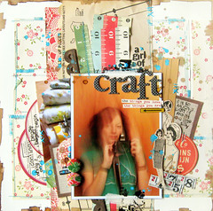 A Girl of Craft - Up The Street (Michelle Alynn) Tags: red selfportrait vintage teal sewing craft splash distressed stitched sewn measuringtape 12x12 walnutink scrapbookpage singlephoto patternedpaper octoberafternoon