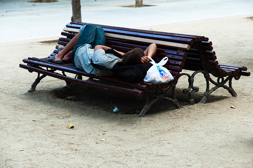 sleep in the bench