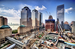 the World Financial Center, New York City (mudpig) Tags: nyc newyorkcity cloud ny newyork building skyline sailboat geotagged newjersey construction jerseycity downtown cityscape crane worldtradecenter 4 nj 7 hudsonriver wtc gothamist westsidehighway discovery goldman groundzero hdr 18thcentury weststreet sachs 7worldtradecenter freedomtower mudpig 1worldtradecenter stevekelley worldtradehotel shiphull