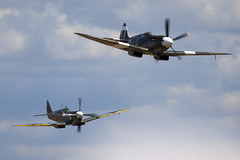 F-AZJS - PS890 - 6S 585110 & D-FEUR - MT928 - 6S 583793 - Private - Supermarine 389 Spitfire PR19 & Supermarine 359 Spitfire HF8C - 100711 - Duxford - Steven Gray - IMG_2663