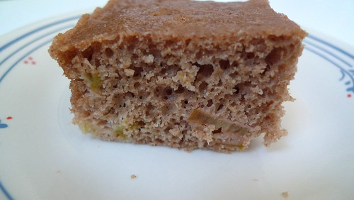 rhubarb spice cake slice