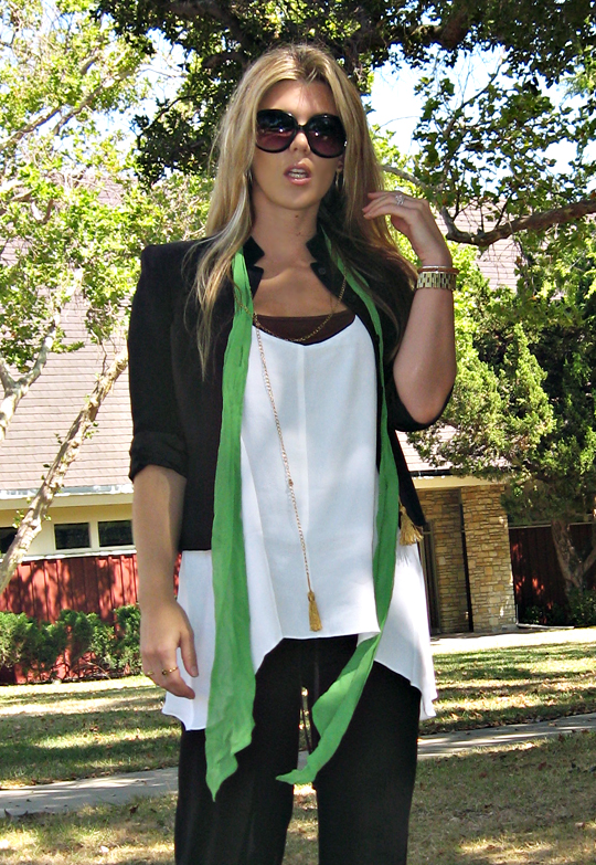 long hair+big sunglasses+black and white and green and brown outfit+miu miu shoes clogs sandals+loose and comfy outfit