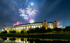 Rangers Ballpark in Arlington - Fireworks - Metaphor for a season (sidehike) Tags: show blue red sky usa white lake reflection night arlington fire lights pond texas bright baseball fireworks stadium explosion arena works explosions rangers texasrangers mlb 840 ameriquestfield theballparkinarlington ballparkinarlington flickrsbest rangersballparkinarlington rangersballpark