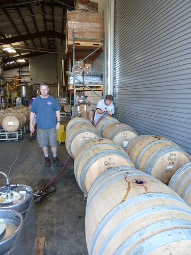Vinnie & Terrence Sullivan, from Sierra Nevada, filling barrels