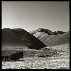 Ranch Landscape (efo) Tags: california ranch d76 hills hasselblad fujiacros stanislauscounty loadingchute autaut