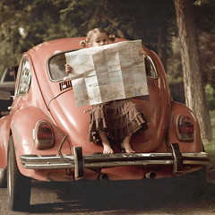 Roadtrip!  Let's go get lost.... (kderty74) Tags: old original orange cute texture eyes map expression roadtrip barefoot pigtails eyebrows squarecrop vwbug iwish notmycar mapofeurope paintthemoon benchmonday alsowishicouldhaveaskedpermission buticouldntfigureoutwhoitbelongedto ohwelljuststoodonthebackandcoveredthelicenseplate wantedtostandonthefronthood seemedtoomuch