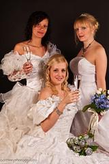 Here come the Brides (cygnus RA21 LRPS) Tags: wedding girls white tiara flower glass female model dress champagne blonde brides brunette blushing