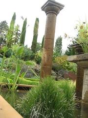 """Little and Lewis"" columns in water feature (AGA~mum) Tags: trees cypress papyrus waterfeature boxwood equisetum mediterraneanstyle parterres waterhorsetail littleandlewis nhsgardentour~meettheboard2010 suetongsgarden littlelewiscolumns"